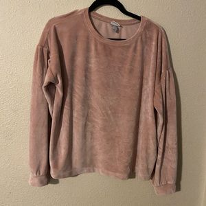 A new day pink velvet bubble sleeve sweater size L
